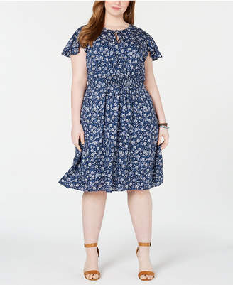 Lucky Brand Plus Size Olivia Printed Shirred Dress
