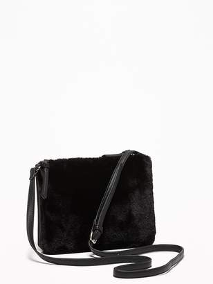 Old Navy Faux-Fur/Faux-Suede Dual-Pouch Crossbody Bag for Women
