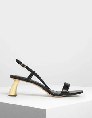 Charles & Keith Sculptural Heel Strappy Sandals