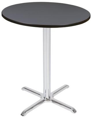 "Regency Via Cafe High 36"" Round X-Base Table- Grey/Chrome"