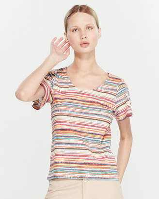Rafaella Petite Short Sleeve Striped Top