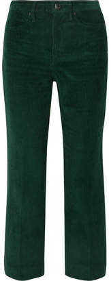 Rag & Bone Dylan Cropped Cotton-corduroy Flared Pants - Green