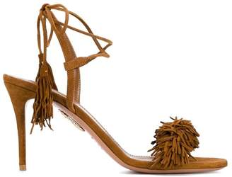 Aquazzura Brown Wild Thing 90 Suede Sandals