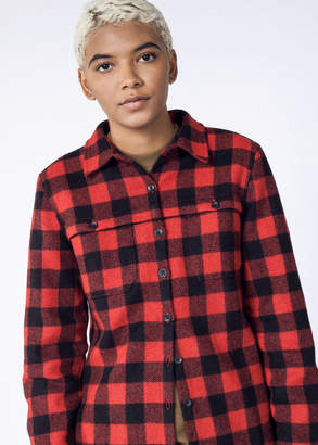 WildFang Woolrich Inc. Woolrich Wool Buffalo Stag Red & Black Check Shirt   Stag Wool Shirt - RED / BLACK - 2XLARGE