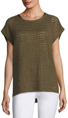 Lafayette 148 New York Short-Sleeve Open-Stitch Sequin Cashmere Sweater