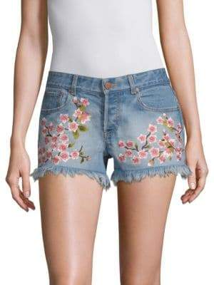 Alice + Olivia AO.LA by Embroidered Vintage Shorts