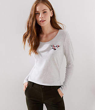 LOFT Floral Embroidered Long Sleeve Shirttail Tee