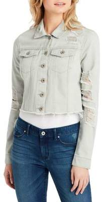 Jessica Simpson Classic Distressed Cropped Denim Jacket