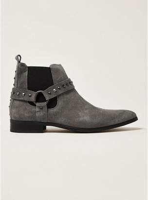 Topman Mens Grey Gray Suede Tommy Stud Chelsea Boots