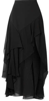 Michael Kors Tiered Silk-crepe And Georgette Maxi Skirt - Black