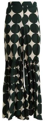 Adriana Degreas - Cacao Polka Dot Print Trousers - Womens - Green Multi