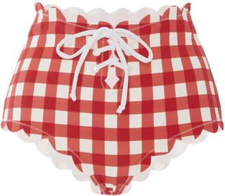 Marysia Swim Riviera Tie-Detailed Scalloped Gingham Bikini Briefs