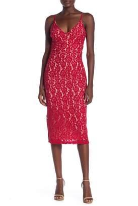 Just Me Spaghetti Strap Lace Midi Dress