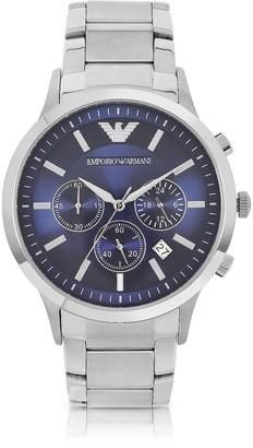 Emporio Armani Men's Blue Dial Stainless Steel Chrono Watch
