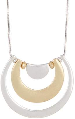 Lucky Brand Two-Tone Concentric Crescent Pendant Necklace