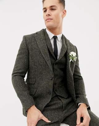 Asos DESIGN slim suit jacket in 100% wool Harris Tweed khaki micro check