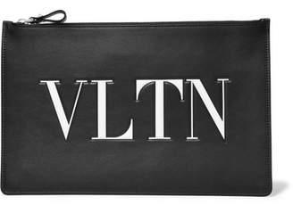 Valentino Garavani Embossed Printed Leather Pouch - Black