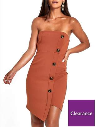 River Island RI Petite Button Through Bodycon Midi Dress - Brown