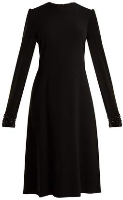 Rochas Open Back Bead Embellished Cady Dress - Womens - Black