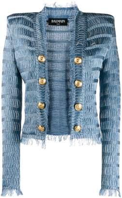 Balmain structured shoulder textured jacket