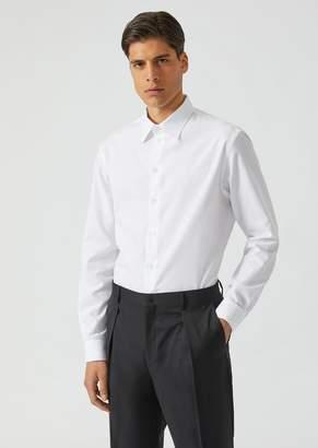 Emporio Armani Modern Fit Shirt In Geometric Pure Cotton Jacquard