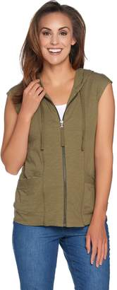 Logo By Lori Goldstein LOGO by Lori Goldstein Zip Front Hooded Vest w/ Lace at Pockets