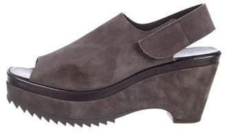 Pedro Garcia Suede Mid-Heel Sandals Grey Suede Mid-Heel Sandals