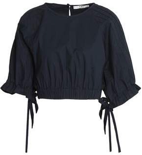 Tibi Cropped Pintucked Cotton-Poplin Top