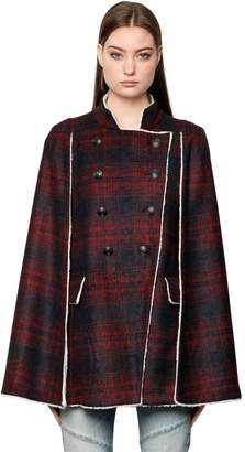Pierre Balmain Plaid Wool Cape W/ Faux Shearling Lining