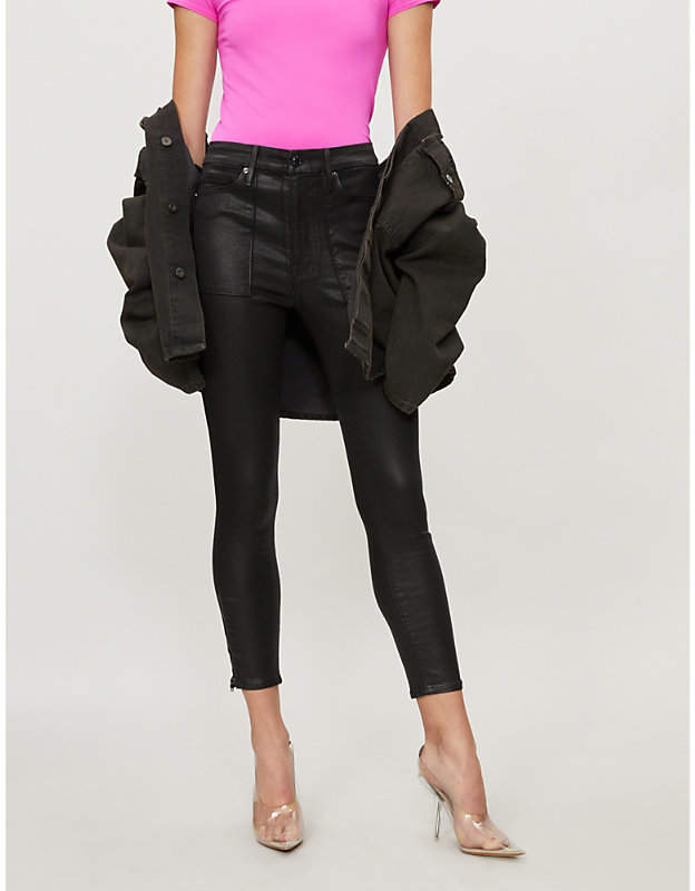 Good Waist high-rise waxed cropped skinny jeans