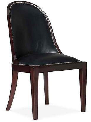 Ralph Lauren Home Cutler Side Chair - Black Leather