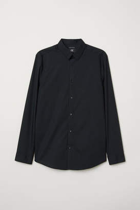 H&M Easy-iron Shirt Slim fit - Black