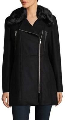 Karl Lagerfeld Paris Faux Fur Asymmetrical Zip Jacket