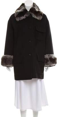 J. Mendel Chinchilla-Trimmed Short Coat