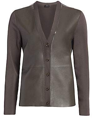 Akris Women's Leather & Knit V-Neck Cardigan
