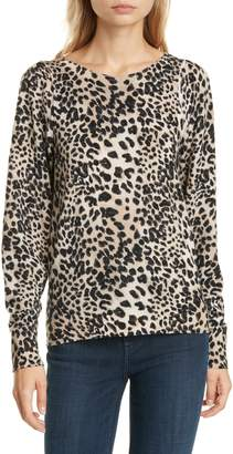 Rebecca Taylor Lynx Print Wool Sweater