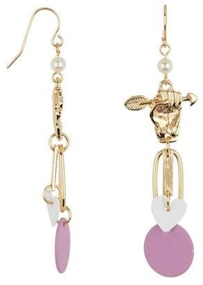 Free Press Heart & Arrow Charm Faux Pearl Dangle Earrings
