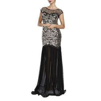 M MAYEVER 1920s Long Prom Dress Sequin Bead Gatsby Ball Party Gown with Headband (XXL, )