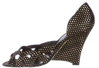Brian Atwood Suede Metallic Wedges