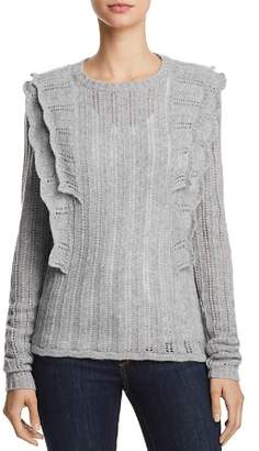 Aqua Ruffled Pointelle Cashmere Sweater - 100% Exclusive