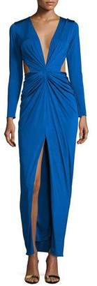 Lapis Mah Ready To Wear Scarlett Gathered-Front Gown W/Cutouts,