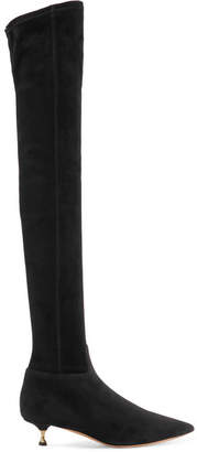 Suede Over-the-knee Boots - Black