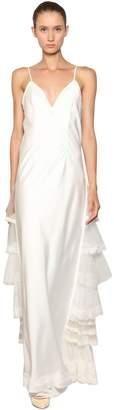 Antonio Marras Silk Satin Dress W/Tulle & Lace Details