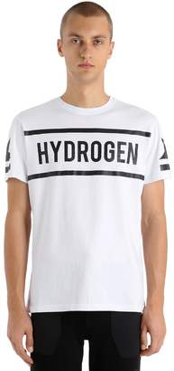 Hydrogen Icon Logo Printed Cotton Jersey T-Shirt