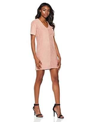 Painted Heart Women's Short Sleeve V-Neck Suede Dress