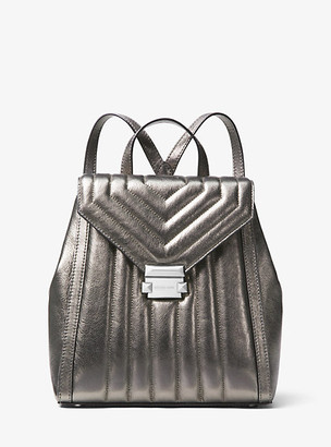 Michael Kors Whitney Quilted Metallic Leather Backpack