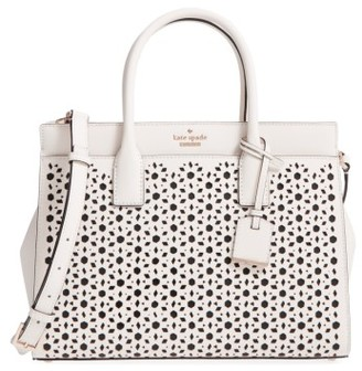 Kate Spade New York Cameron Street - Candace Perforated Leather Satchel - White $398 thestylecure.com