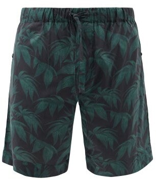 Desmond & Dempsey Byron Print Cotton Pyjama Shorts - Mens - Navy Green