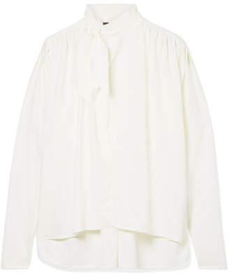 Isabel Marant Pussy-bow Washed-crepe Blouse - Ivory