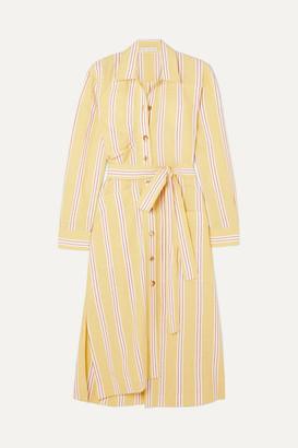 REJINA PYO Madison Striped Cotton-blend Midi Dress - Pastel yellow